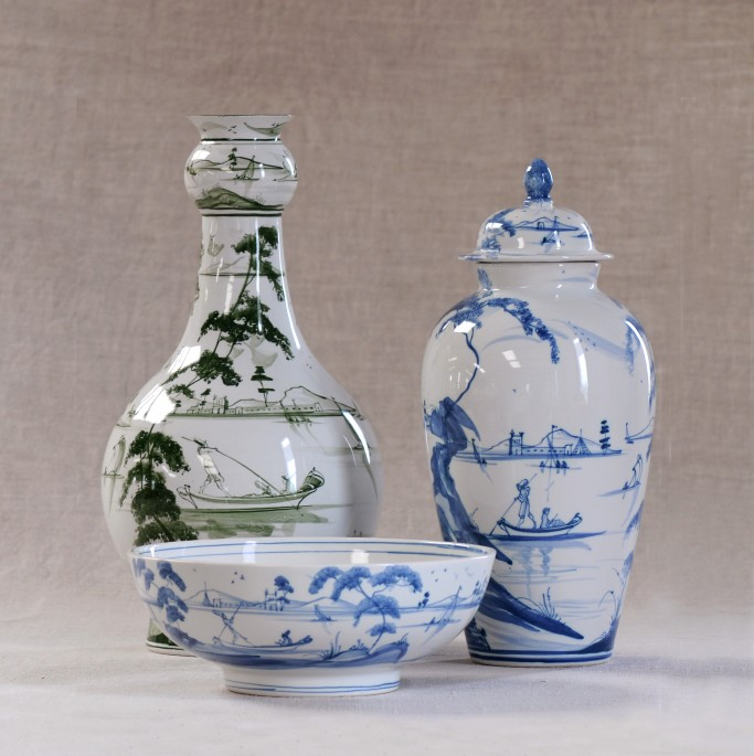 Baluster vase in Green, Medium bowl and Wigstand Vase in Blue