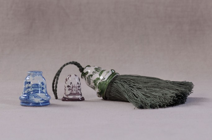 Bell pull in Blue, Fob in Sepia and Bell pull with tassel in Green