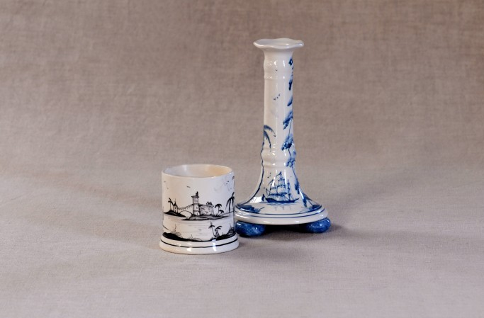 Candlepot in Black, Candlestick in Blue