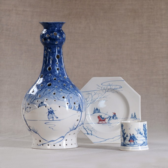 Lantern, Octagonal side plate and Candlepot in Blue