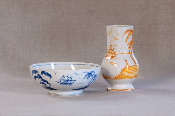 Medium bowl in blue and Grace Vase in Yellow