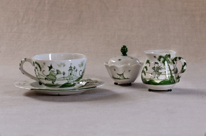 Playful Monkey Teacup and Saucer and Sugar pot, Musical Monkey Creamer all in Green